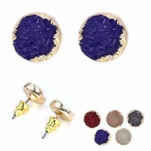 Druzy Stone Circle Stud Earring